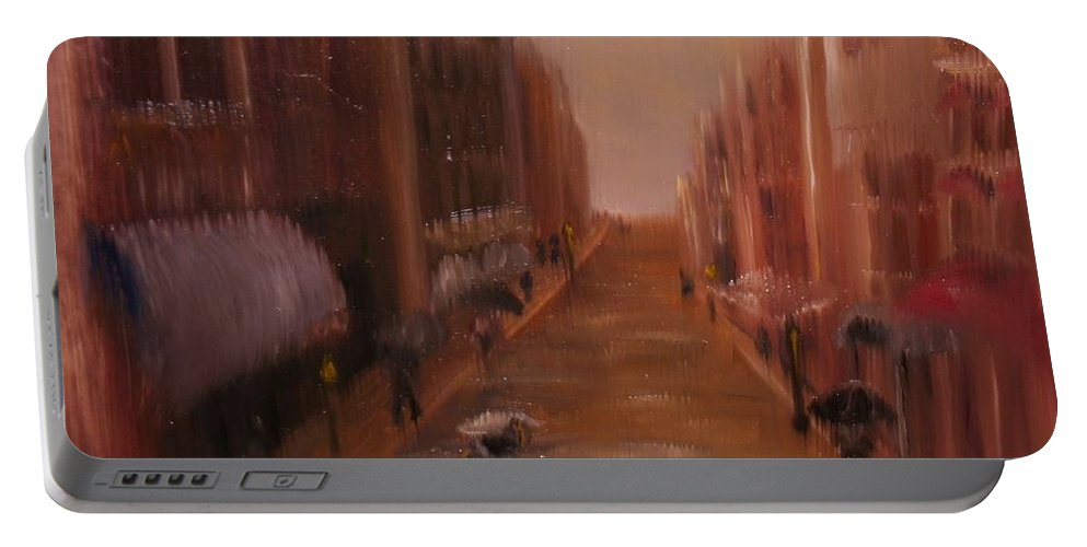 Portable Battery Charger featuring the painting The Lane by Teresa Davis