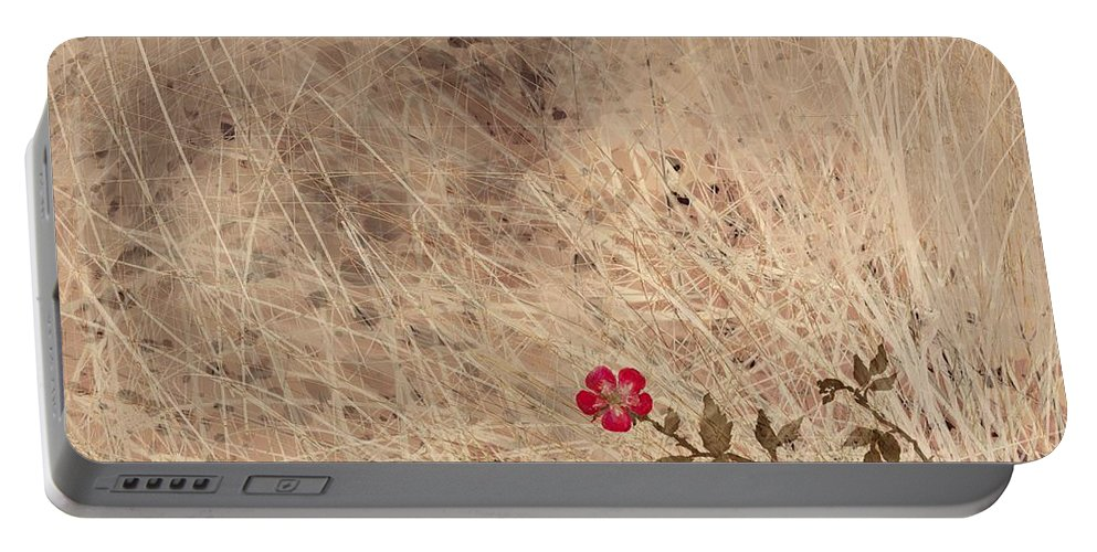 Abstract Portable Battery Charger featuring the digital art The Last Blossom by William Russell Nowicki