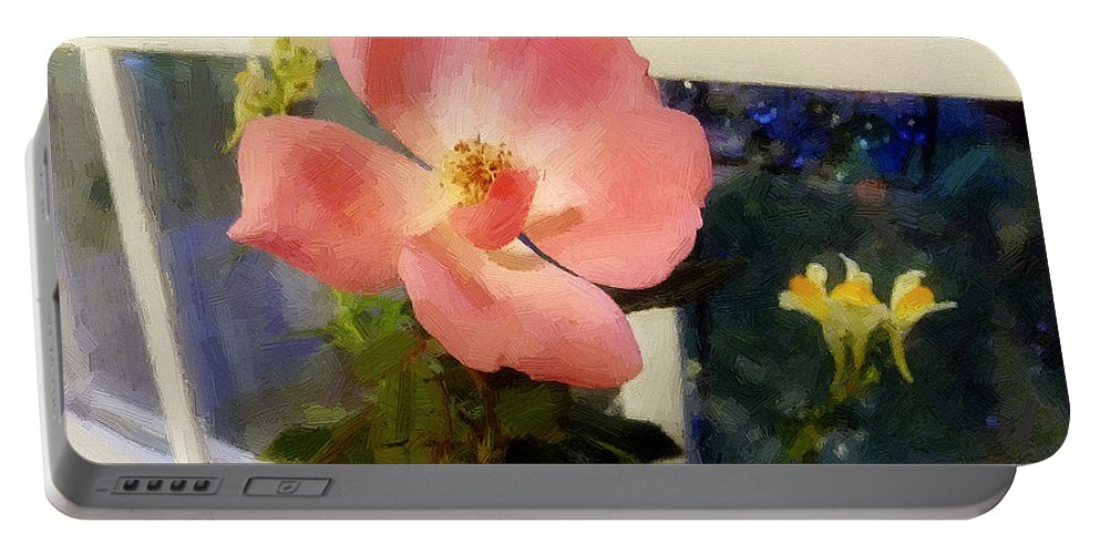 Rose Portable Battery Charger featuring the painting The Last Rose Of Summer by RC DeWinter