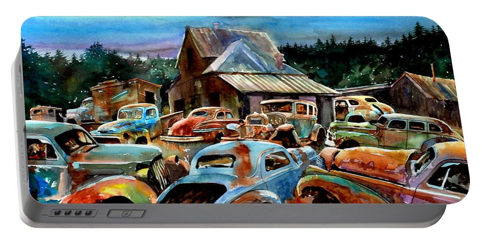 Old Cars Portable Battery Charger featuring the painting The Last Stand by Ron Morrison