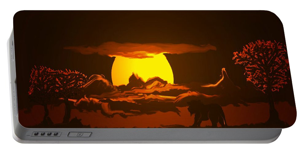 Lion Lions Desert Water Sunset Wild Animals Trees Portable Battery Charger featuring the digital art The Last Water Hole by Andrea Lawrence