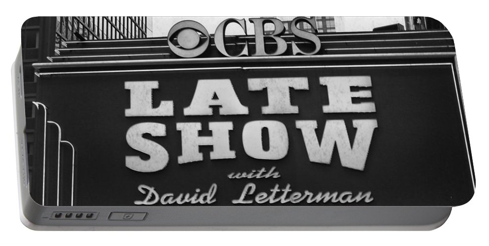 Sign Portable Battery Charger featuring the digital art The Late Show by Mary Pille