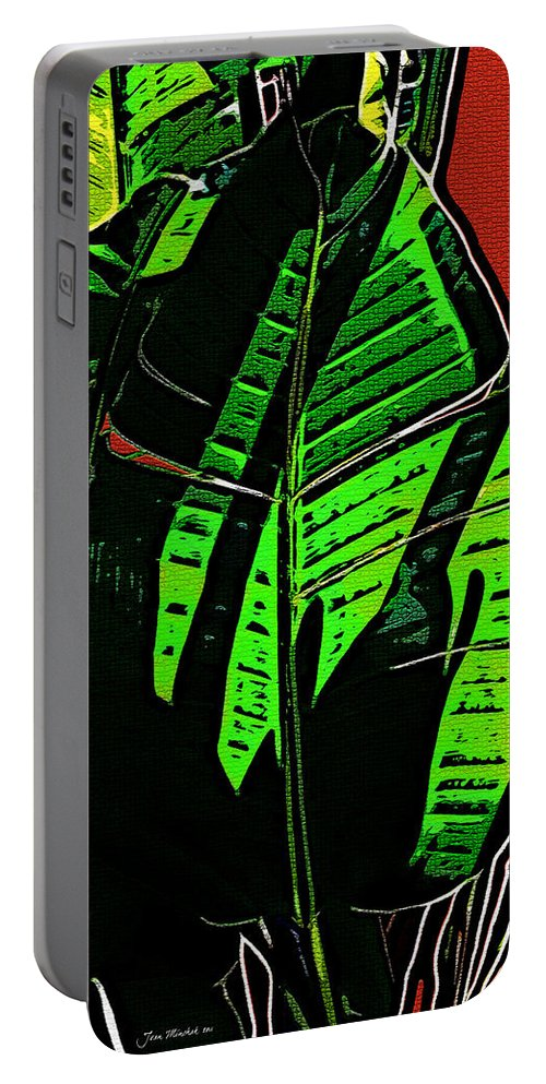Leaf Portable Battery Charger featuring the digital art The Leaf by Joan Minchak