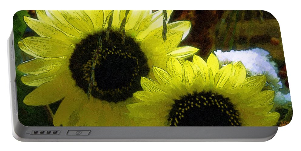 Sunflowers Portable Battery Charger featuring the digital art The Lemon Sisters by RC DeWinter