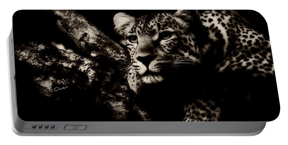 Leopard Portable Battery Charger featuring the digital art The Leopard by Owens Art