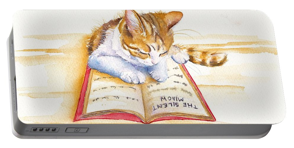 Cats Portable Battery Charger featuring the painting The Lesson by Debra Hall
