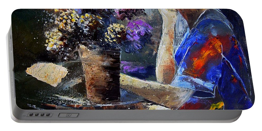 Girl Nude Portable Battery Charger featuring the painting The Letter by Pol Ledent