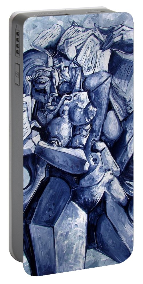 Surrealism Portable Battery Charger featuring the painting The Letters by Darwin Leon