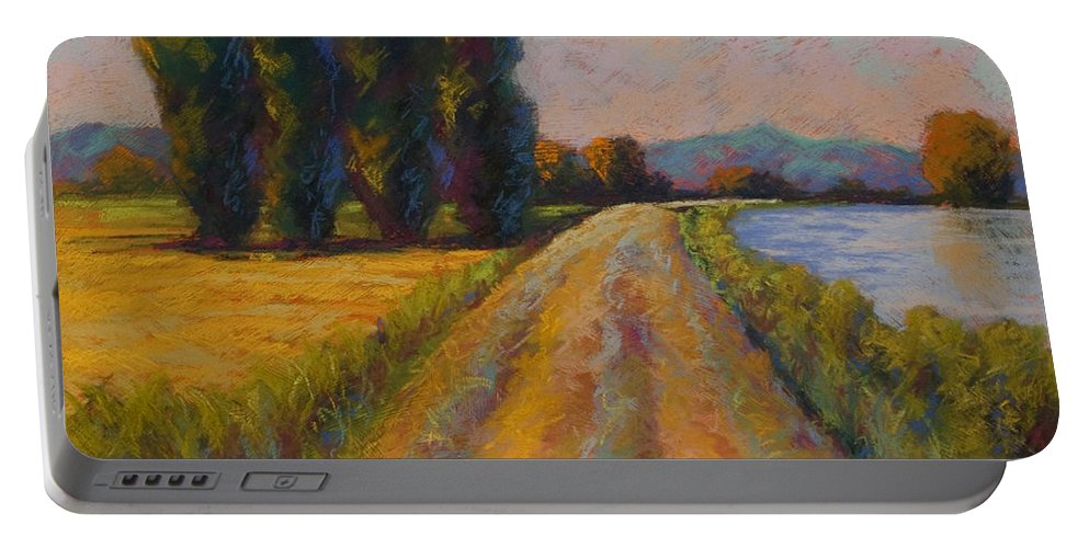 Pastel Portable Battery Charger featuring the painting The Levee by Marion Rose