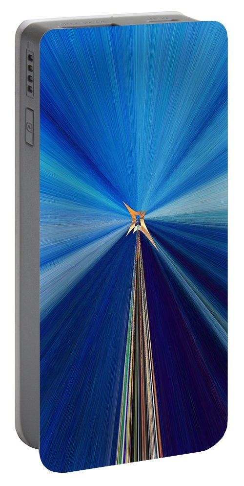 Abstract Portable Battery Charger featuring the digital art The Light Fantastic Speedway by Tim Allen