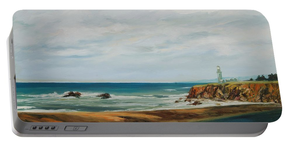 Seascape Portable Battery Charger featuring the painting The Light House by Rick Nederlof