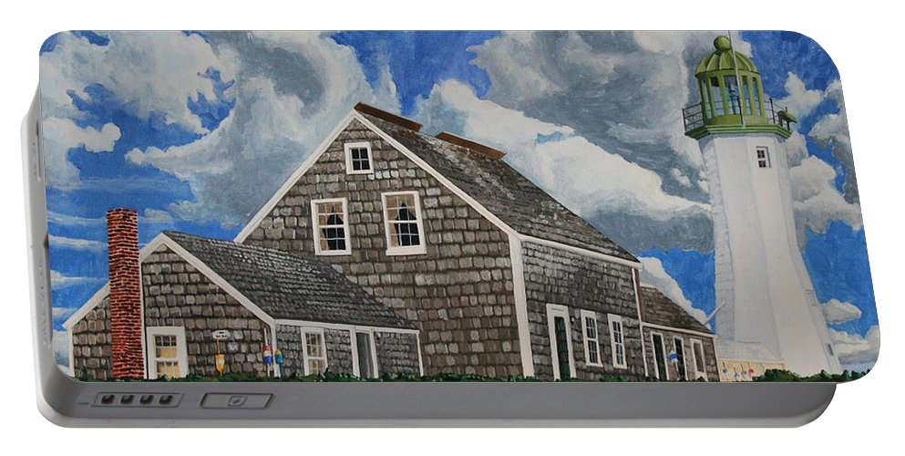 Lighthouse Portable Battery Charger featuring the painting The Light Keeper's House by Dominic White