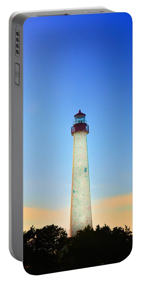 Cape May Portable Battery Charger featuring the photograph The Lighthouse At Cape May by Bill Cannon