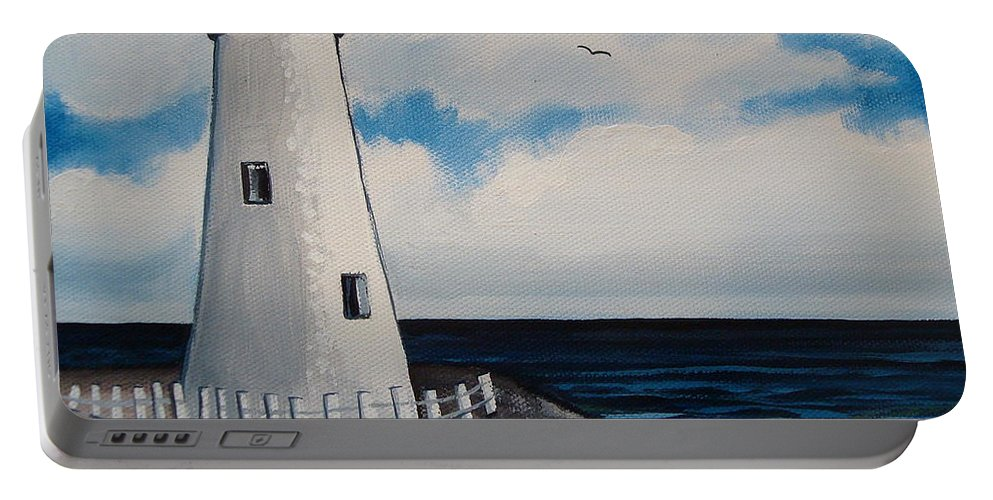 Lighthouse Portable Battery Charger featuring the painting The Lighthouse by Elizabeth Robinette Tyndall