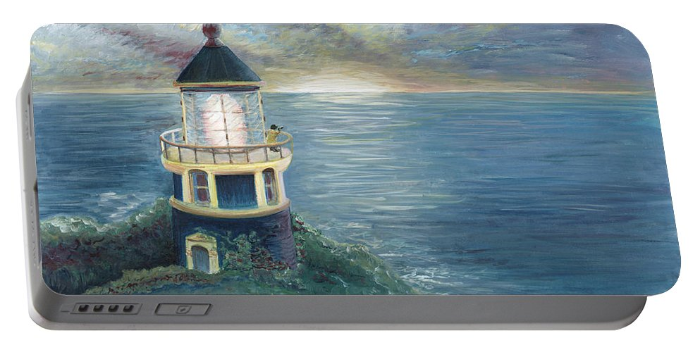 Lighthouse Portable Battery Charger featuring the painting The Lighthouse by Nadine Rippelmeyer
