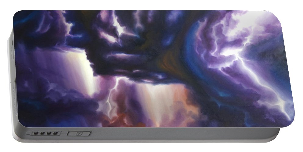 Tempest Portable Battery Charger featuring the painting The Lightning by James Christopher Hill