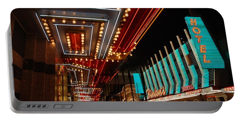 Photography Portable Battery Charger featuring the photograph The Lights Are On In Las Vegas by Susanne Van Hulst