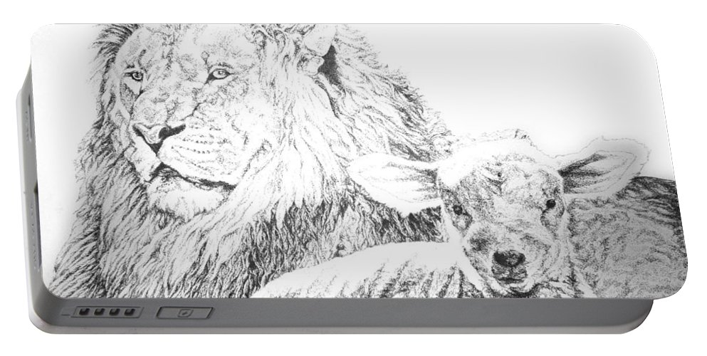 Lion Portable Battery Charger featuring the drawing The Lion And The Lamb by Bryan Bustard