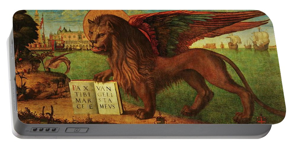 Lion Portable Battery Charger featuring the painting The Lion Of Saint Mark by Vittore Carpaccio