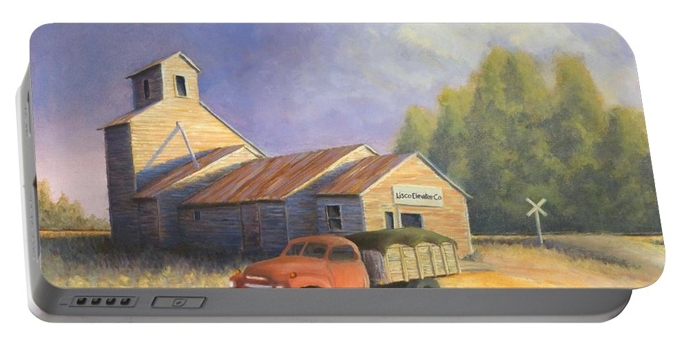 Nebraska Portable Battery Charger featuring the painting The Lisco Elevator by Jerry McElroy