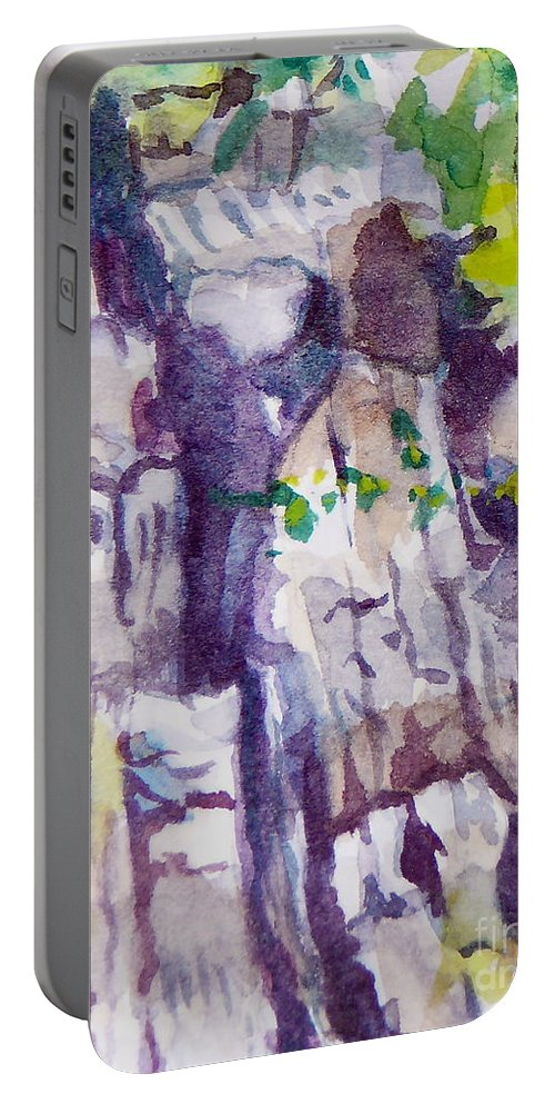 Purple Portable Battery Charger featuring the painting The Little Climbing Wall by Jan Bennicoff
