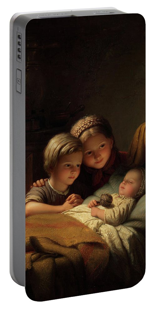 Children Portable Battery Charger featuring the painting The Little Sleeping Brother by Johann Georg Meyer von Bremen