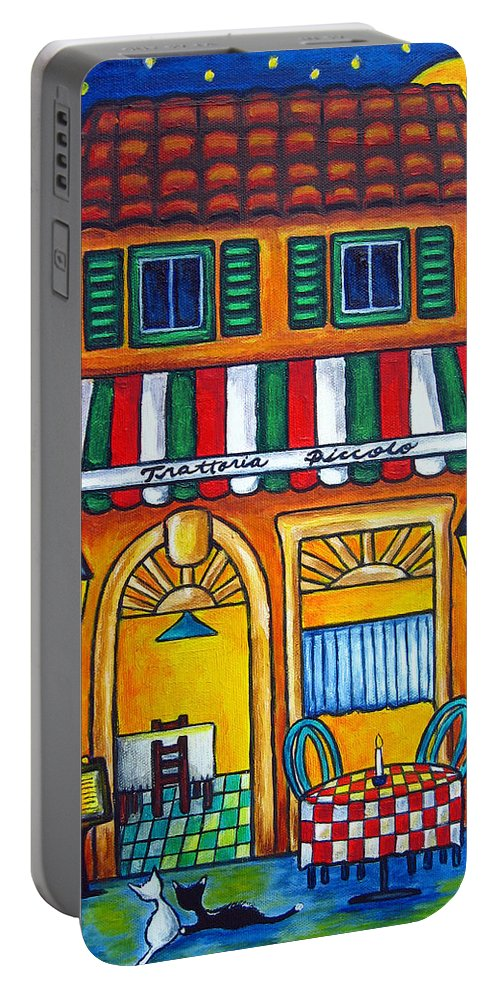 Blue Portable Battery Charger featuring the painting The Little Trattoria by Lisa Lorenz