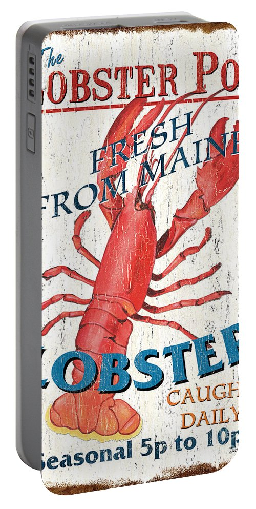 Lobster Portable Battery Charger featuring the painting The Lobster Pot by Debbie DeWitt