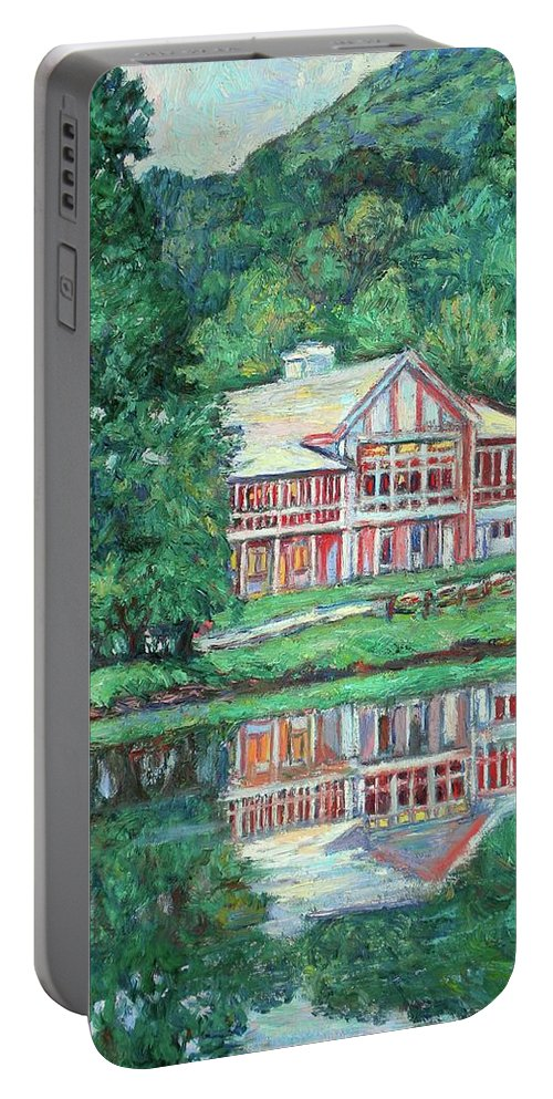 Lodge Paintings Portable Battery Charger featuring the painting The Lodge At Peaks Of Otter by Kendall Kessler
