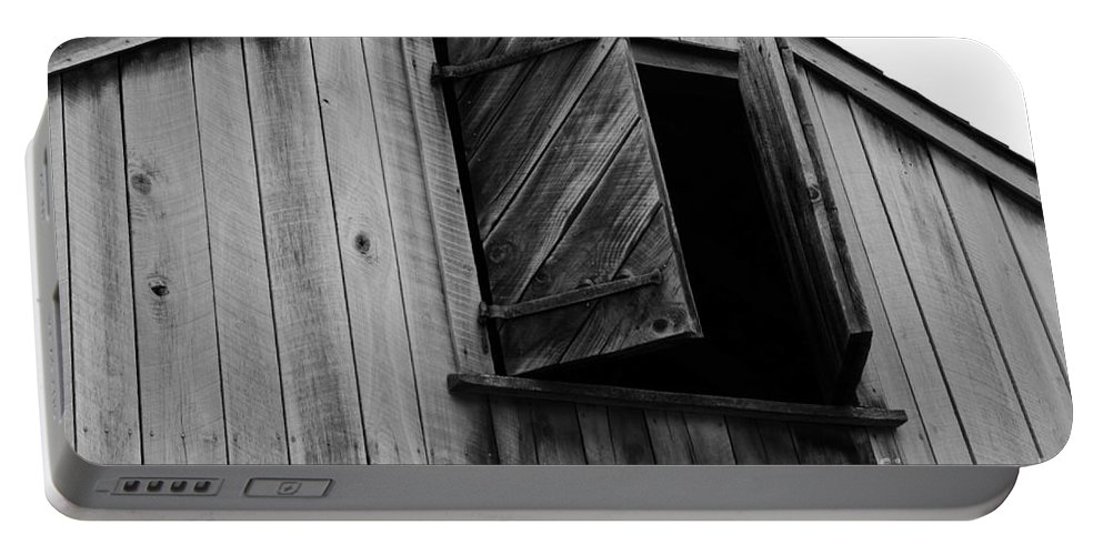 Paul Ward Portable Battery Charger featuring the photograph The Loft Door In Black And White by Paul Ward
