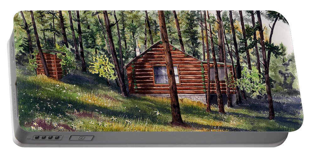 Nature Portable Battery Charger featuring the painting The Log Cabin by Mary Tuomi