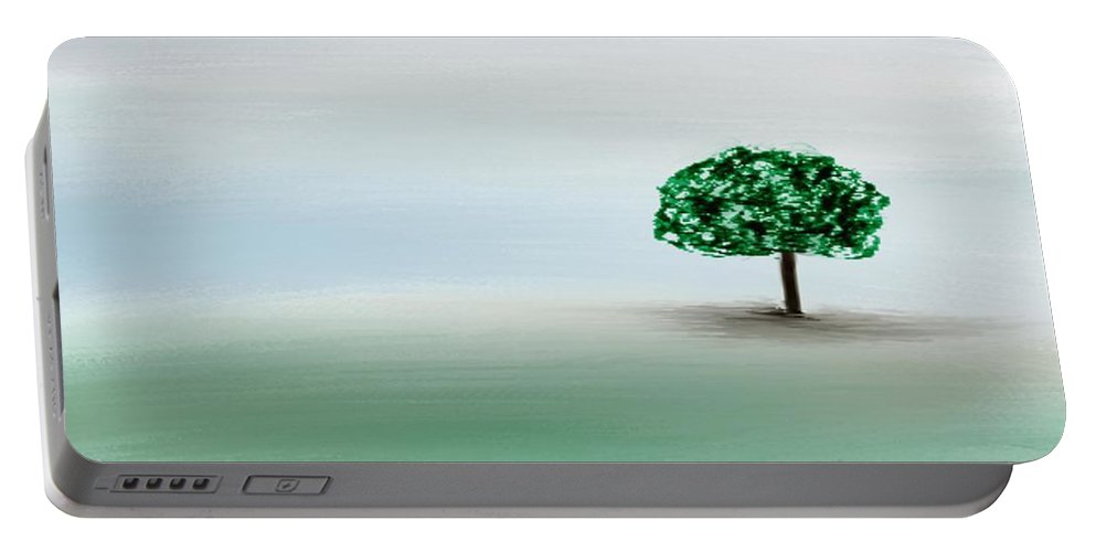 Custom Portable Battery Charger featuring the painting The Lone Tree by Gina Lee Manley