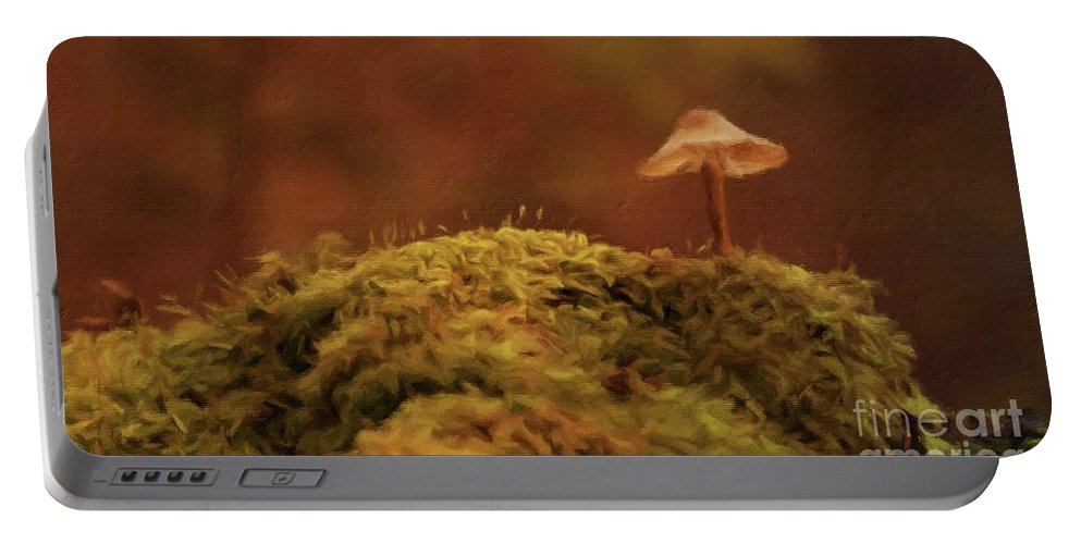 Landscape Portable Battery Charger featuring the painting The Lonely Mushroom by Sarah Kirk