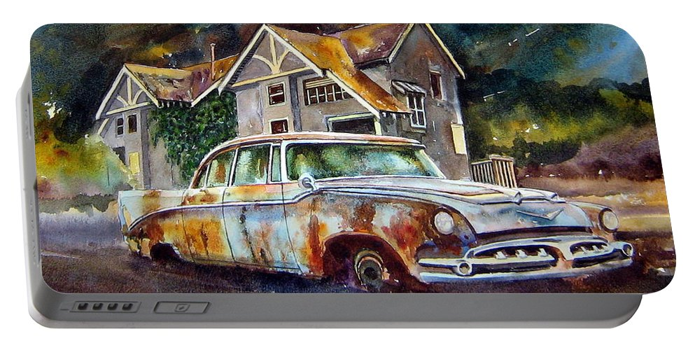 Old Dodoges Portable Battery Charger featuring the painting The Lonesome Hotel by Ron Morrison