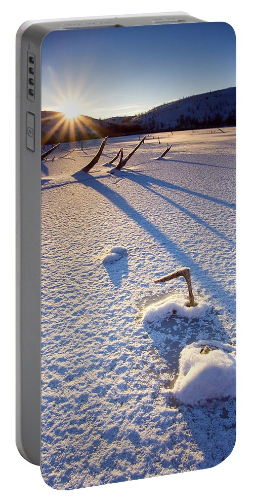 Sunrise Portable Battery Charger featuring the photograph The Long Shadows Of Winter by Mike Dawson