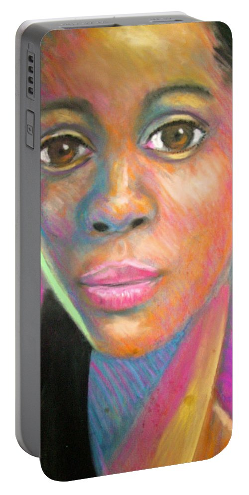 Portrait Portable Battery Charger featuring the drawing The Look by Jan Gilmore