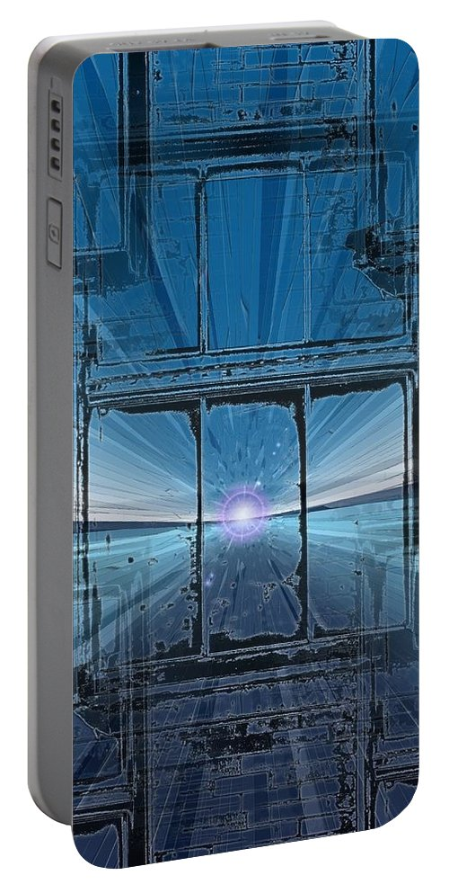 Portable Battery Charger featuring the digital art The Looking Glass by Tim Allen