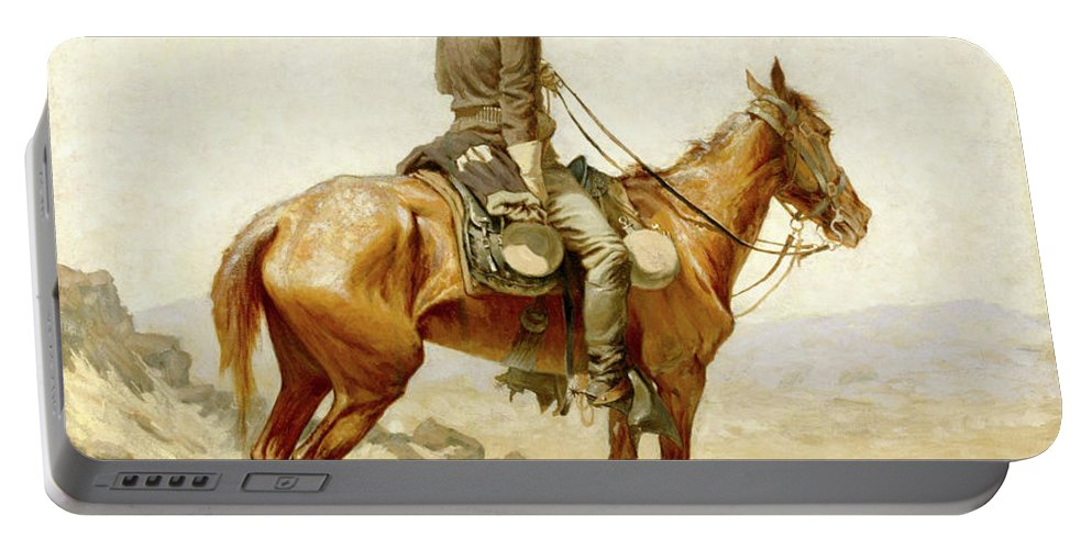 Lookout Portable Battery Charger featuring the painting The Lookout by Frederic Sackrider Remington