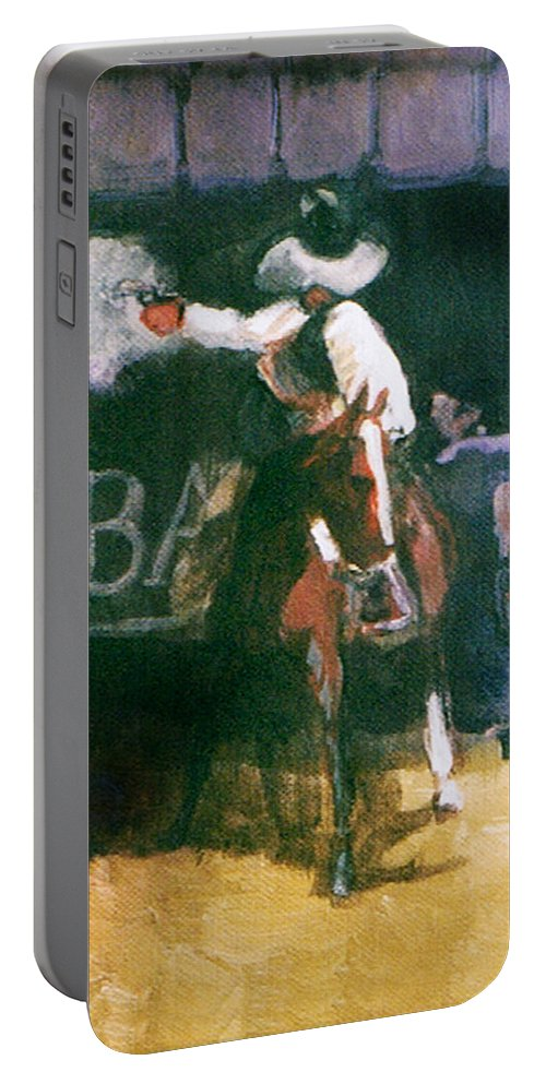 Cowboys Portable Battery Charger featuring the painting The Lord Helps Them...a Study by Seth Weaver