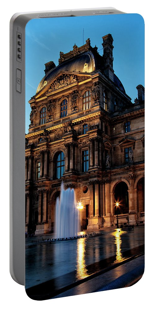 The Louvre Portable Battery Charger featuring the photograph The Louvre Palace by Kendall James