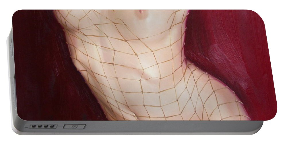 Art Portable Battery Charger featuring the painting The love in net by Sergey Ignatenko