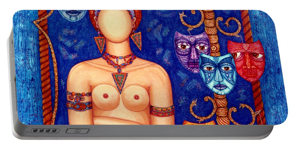 Madwoman Portable Battery Charger featuring the painting The Madwoman by Madalena Lobao-Tello