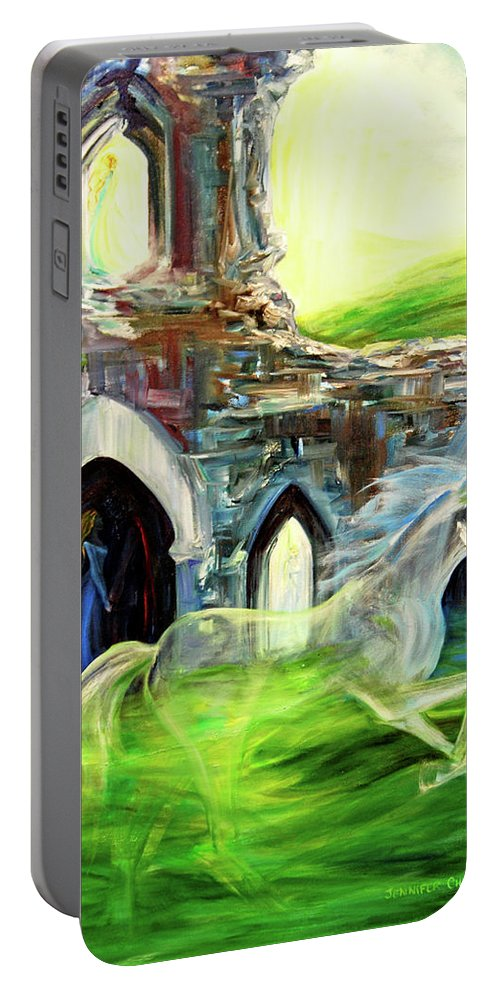 England Portable Battery Charger featuring the painting The Magic And Majesty Of Corfe Castle by Jennifer Christenson