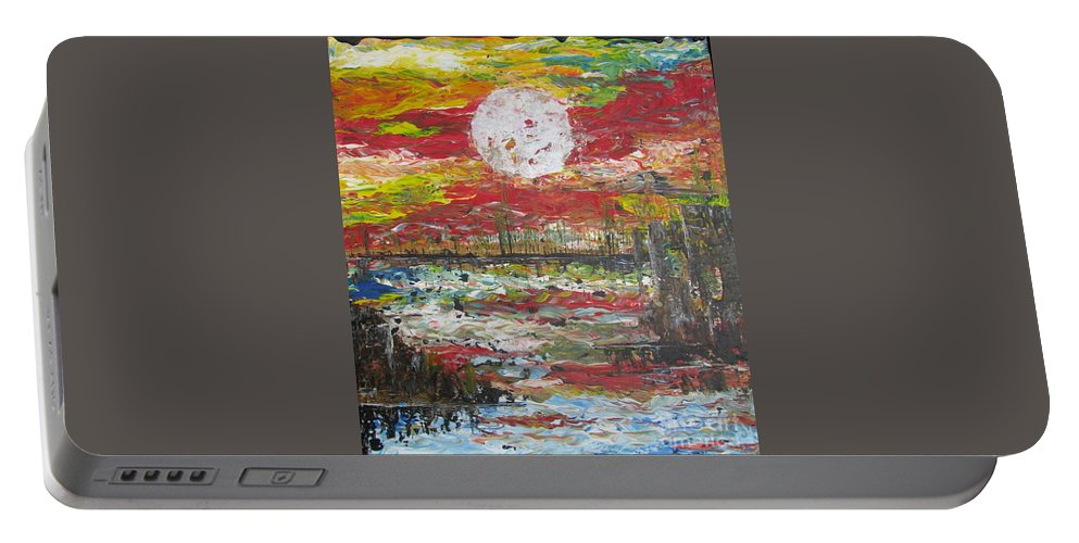 Nature Portable Battery Charger featuring the painting The Man And The Moon by Jacqueline Athmann