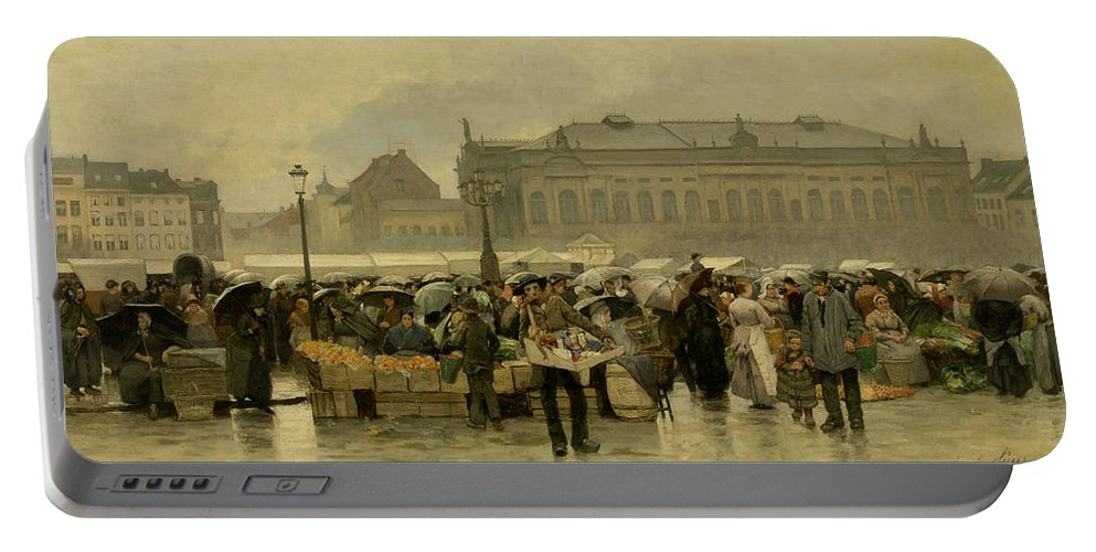 Painting Portable Battery Charger featuring the painting The Market In Antwerp by Emile Claus