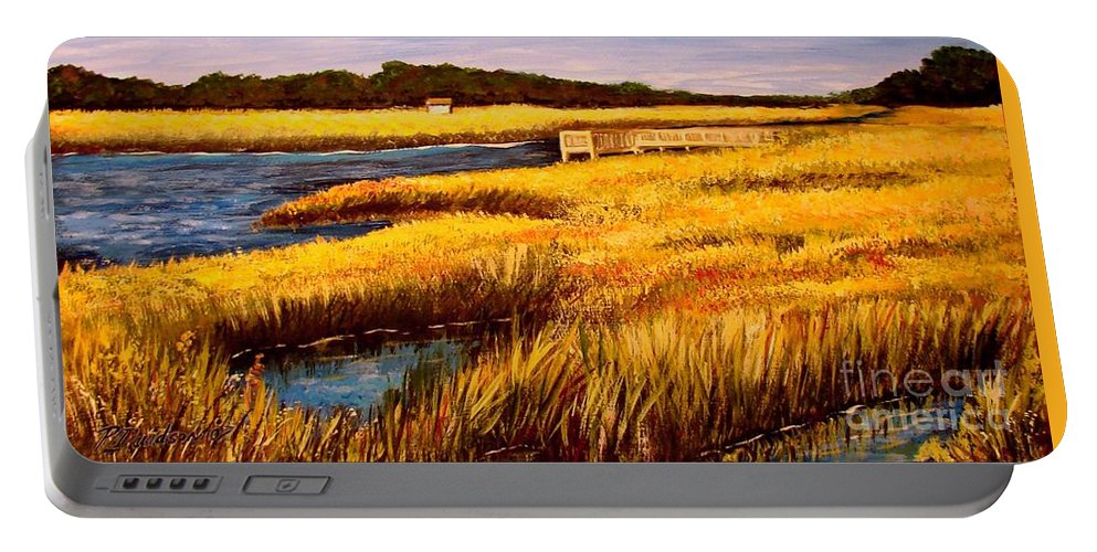 Beaches Portable Battery Charger featuring the painting The Marsh At Cherry Grove Myrtle Beach South Carolina by Patricia L Davidson