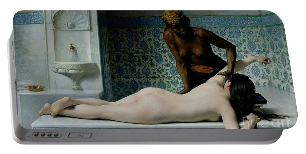The Portable Battery Charger featuring the painting The Massage by Edouard Debat-Ponsan
