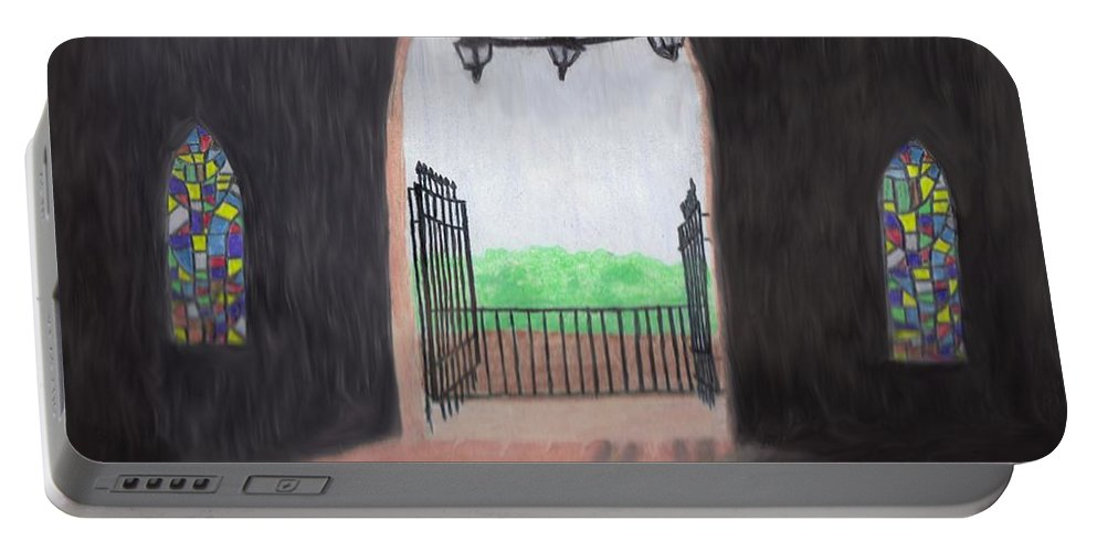 Mausoleum Portable Battery Charger featuring the drawing The Mausoleum by Jean Haynes