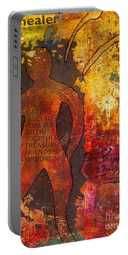 Caregiver Portable Battery Charger featuring the mixed media The Medicine Man by Angela L Walker