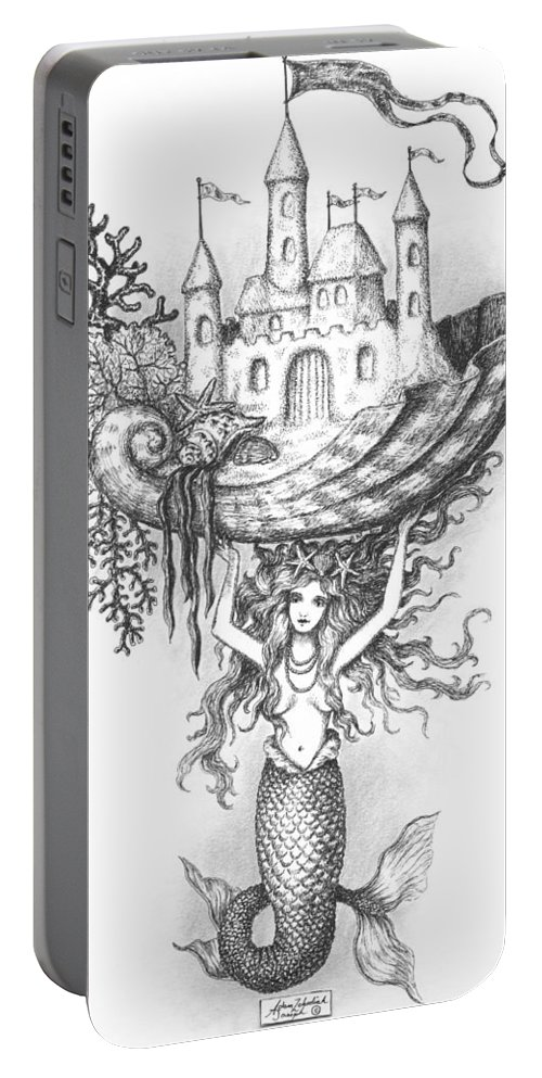 Black Portable Battery Charger featuring the drawing The Mermaid Fantasy by Adam Zebediah Joseph